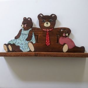 Wood Handmade wall hanging shelfs baby bears